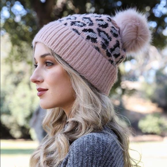 🌟LAST 3! Pink Leopard Print Knit Beanie